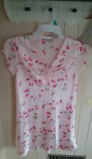Vintage?Liquid Floral Pink Short Kim Rogers Nightgown size Small