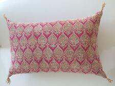 Raoul Textiles Sari fuchsia paisley hand printed linen throw pillow new