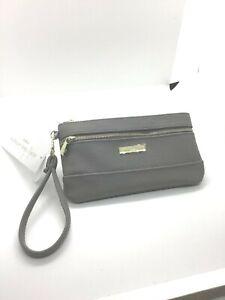 Adrienne Vittadini studio womens grey wristlet two zip Coin wallet new $20