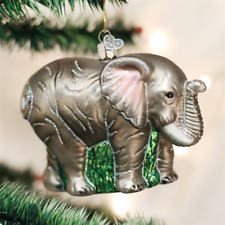 OLD WORLD CHRISTMAS LARGE ELEPHANT ZOO ANIMAL GLASS CHRISTMAS ORNAMENT 12159
