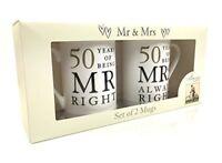 50th Golden Wedding Anniversary Gift - Pair Of Mugs