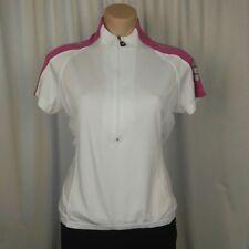 NETTI Women's Cycling Jersey Size 12 White Pink Reflective 1/2 Zip Back Pockets