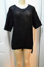 W by WORTH Solid Black Cotton Blend Chunky Knit Short Sleeve Top size M NWT