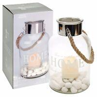 Hurricane Glass LED Candle Lantern Holder Table Lamp Hanging Christmas Deco Vase
