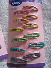 12 Goody Girls Colorful Glitter Coated Epoxy Covering Metal Hair Snap Clips 2004