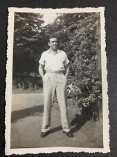 Photo Man Standing On Road Next To Trees Button Down Shirt Slacks Loafers 1940's