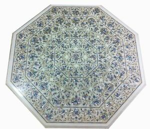 """36"""" White marble Table Top pietra dura stones inlaid marquetry art work"""