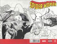 MARVEL Comics SPIDER-WOMAN #1 Original Art Sketch Cover SILK GHOST SPIDER-GWEN