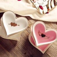 Ceramic Porcelain Dinnerware Plates For Desserts And Tabletop Heart Decorations