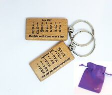 Personalised Wooden Keyring Gift Calendar The Day You Became Daddy Mummy Wife