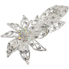 Diapositiva de Pelo Pasador De Pelo Vintage De Plata Francés Clip Diamante Flor Hoja Boda