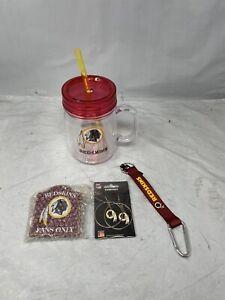 Washington Redskins Mason Jar Bundle Includes Ornament, Keychain, Hoop Earrings*