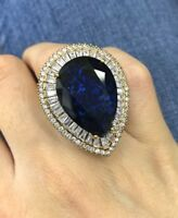 925 Sterling Silver Handmade Gemstone Turkish Sapphire Ladies Ring Size 7-9