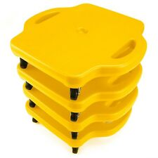 """4pack 16"""" Yellow Gym Class Scooter Boards w/Safety Handles Kids Play Recreation"""