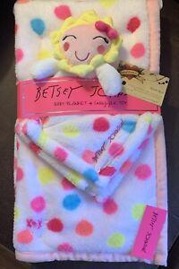 Betsy Johnson Security & Large Blanket Set Girl Doll Polka Dots COLORFUL Fleece