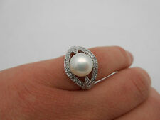 Gorgeous 14k Solid White Gold Diamond & 9.5mm Cultured Button Pearl Ring Sz 6.5