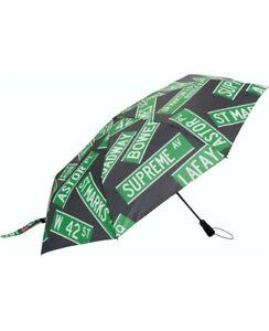 "SUPREME ShedRain Street Signs Umbrella Black / Green ""In Hand"" NWT"