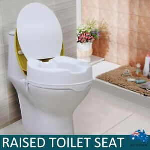 """4""""/10CM Elevated Toilet Seat Riser Raised Safety Chair Lifter Extender w/ Lid AU"""