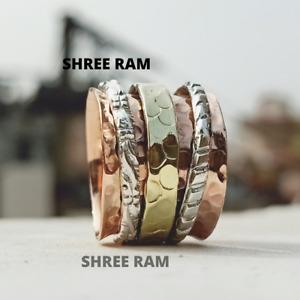 Solid 925 Copper Ring Spinner Ring meditation Ring Fidget Statement Ring Sk40
