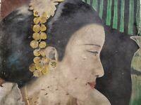 Balinese woman scene painting Ubud fine art Hand Painted Indonesia Bali vintage