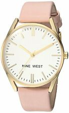 Nine West Womens Gold-Tone and Pastel Pink Strap Watch