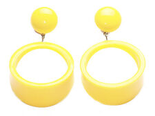 80's tempo di viaggio giallo sole / ROUND Hoop gocce EARINGS SIGNET stili (zx74)