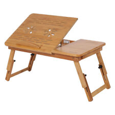 Portable Bamboo Laptop Stand Vents Foldable Desk Notebook Table Bed With Drawer Model 1