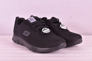 Women's Skechers Ghenter - Bronaugh Lace Up Work Sneakers, Black, 7.5M