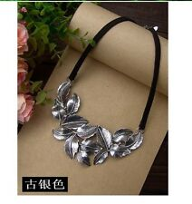 Fashion Jewelry Gift Retro Silver Plated Alloy Leaf Pendant Black Rope Necklace