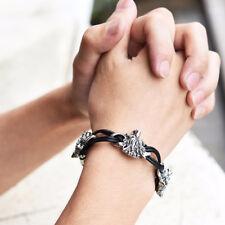 Wolf Leather Stainless Steel Bracelets For Men Best Friends Gift Men's Jewelry