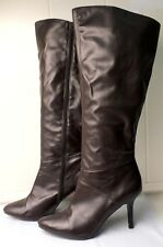 Worthington Boots Ladies 9 High Heel Brown Faux Leather Knee-High Tall Dress
