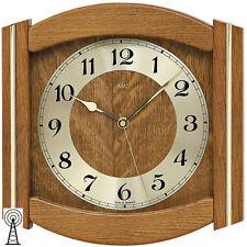 AMS 5822/4 Wanduhr Funk Funkwanduhr analog Holz Eiche massiv