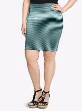 595e89ab4 New TORRID sz 4 4X 26 Black/Teal Striped Foldover Mini Skirt NWT Bandage/