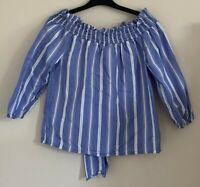 Primark Size 6 Ladies Blue & White Striped Top