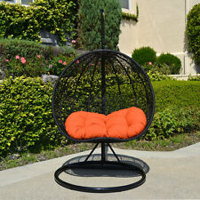 2 Persons Seater Egg Shape Wicker Rattan Swing Lounge Chair Hammock BLACK ORANGE
