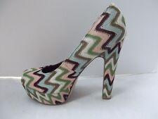 Madden Girl platform shoes Malley 5in heel chevron zigzag pink blue pastel 8.5