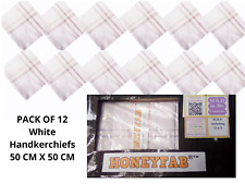 HONEYFAB  12 Pc  White Mens Handkerchiefs 100% Pure Cotton Large 50x50 CM Hanky