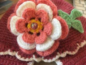 шерстяная теплая шапка для девочки красивая детская шапка бордовая шапка малыша