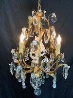 Antique Vintage French Crystal Beaded Gold Gilt Tole Chandelier Bird Birdcage