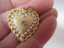 ESTATE 14K YELLOW GOLD HEART DIAMOND INLAID PEARLS PENDANT 6.77 Grams BEAUTIFUL