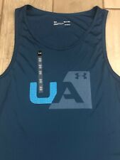 Nwt Mens Sz S Teal Under Armour Polyester Ua Tank Top Shirt 1317576 $28 Retail
