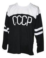 Any Name Number Size CCCP Russia Custom Retro Hockey Jersey Black
