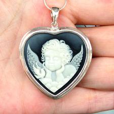 #P387 Pendentif Camée Coeur Ange Chérubin Argent Massif  925