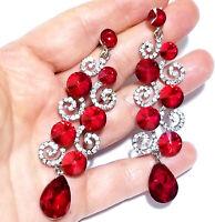 Chandelier Earrings Rhinestone Red Crystal 3.2 in