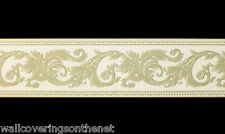 Cream and Green, Blown Vinyl Wallpaper Border (13cm x4.57m)