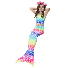 3Pcs Girls' Swimsuit Mermaid Tail for Swimming Tropical Bikini Halloween Masquer