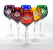Box of 6 Hand Cut 24% Lead Large Wine Crystal Glasses 250ml NEW COLOR COLLECTION