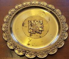 Inca, Handmade, Bolivian Brass, Wall Decorative Plate, Artist Signed