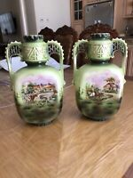 PAIR Antique Porcelain Austrian Vases 19th Century Hand Painted