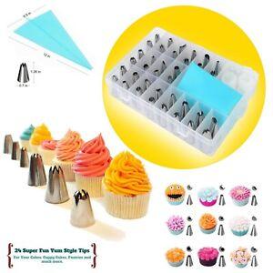 26 Pieces Icing Pipping Nozzles Tool Set Box Sugar Cupcake Decorating
